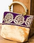 インドのゴージャスハンドバッグ - 紫地フラワー
