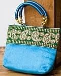 インドのゴージャスハンドバッグ - 緑地ペイズリー