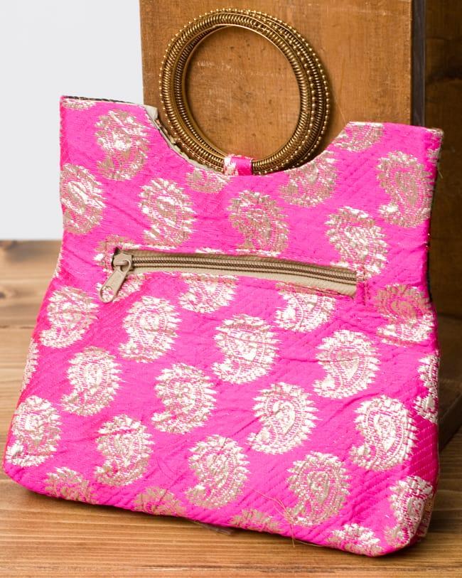 インドのゴージャスハンドバッグ - ペイズリー 3 - 裏面はシンプルに。