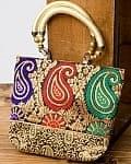 インドのゴージャスハンドバッグ - ゴールドペイズリー