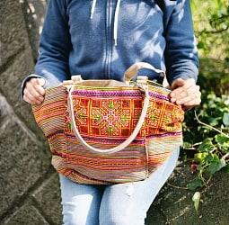 モン族刺繍の2way トートバッグ - オレンジ系