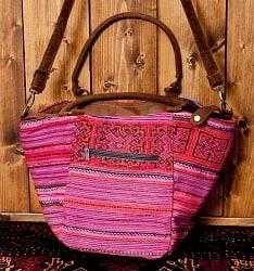モン族刺繍の2way トートバッグ - ピンク系
