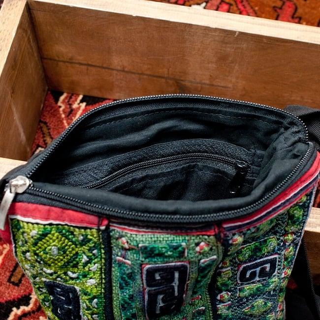 【一点物】モン族刺繍のスクエアショルダーバッグ 10 - 中には小物を入れておく為の、収納つき。
