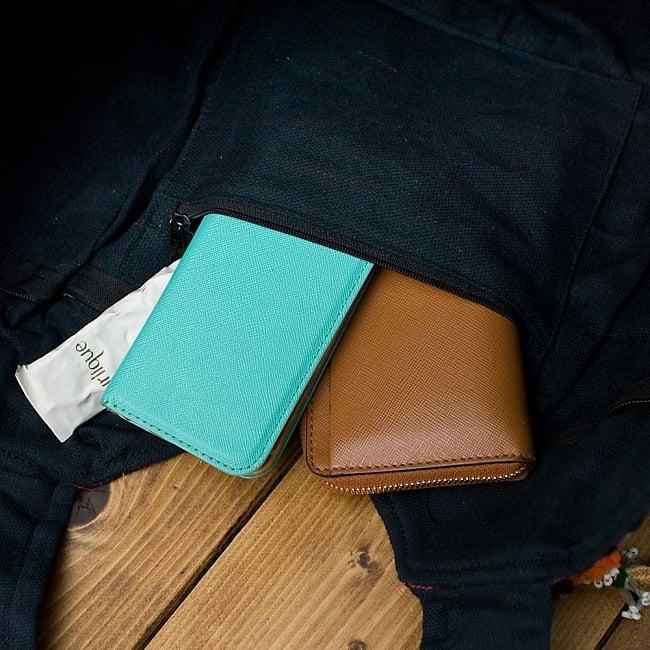 【一点物・アンティーク】アフガニトートバッグ-Lサイズ 11 - ジップ式の内ポケットが1つあり、とても便利です