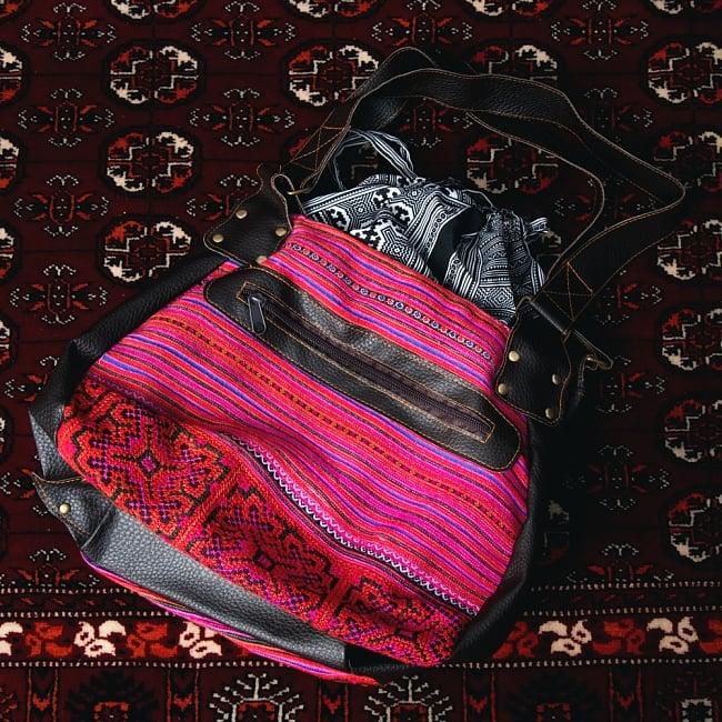 モン族刺繍とレザーのトートバッグの写真13 - 【選択:B】ピンク系