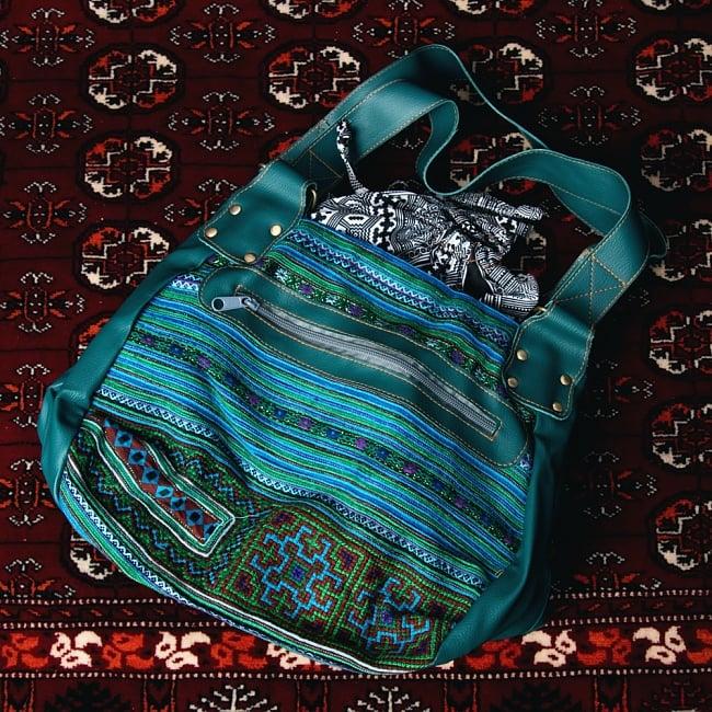 モン族刺繍とレザーのトートバッグの写真14 - 【選択:C】青系