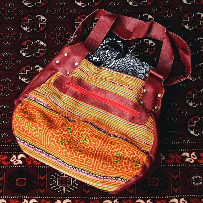 モン族刺繍とレザーのトートバッグの写真15 - 【選択:D】オレンジ系