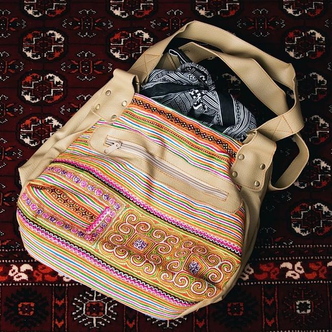 モン族刺繍とレザーのトートバッグの写真16 - 【選択:E】黄色オレンジ虹色系