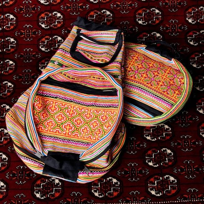 モン族刺繍 まんまる折りたたみ式2Wayトラベルバッグの写真15 - 【選択:A】黄色オレンジ虹色系