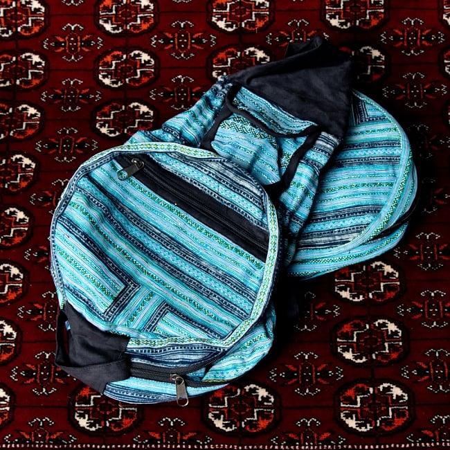 モン族刺繍 まんまる折りたたみ式2Wayトラベルバッグの写真16 - 【選択:B】青系