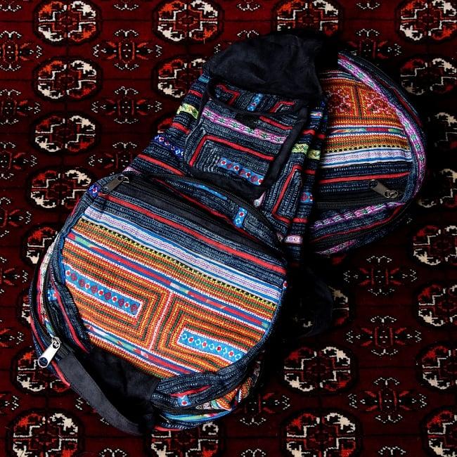 モン族刺繍 まんまる折りたたみ式2Wayトラベルバッグの写真18 - 【選択:D】紺系