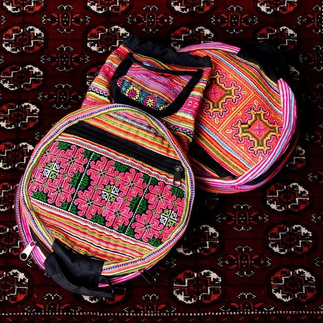 モン族刺繍 まんまる折りたたみ式2Wayトラベルバッグの写真19 - 【選択:E】ピンク系