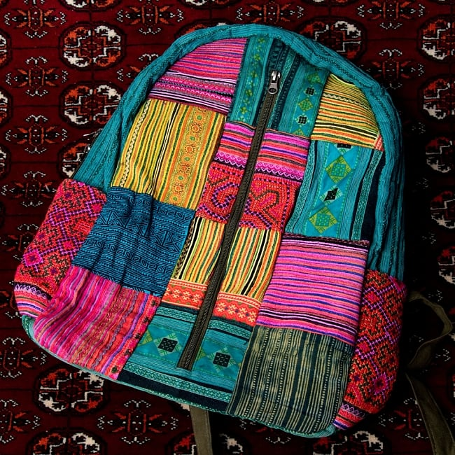 モン族刺繍のセンターファスナーパッチワークバッグパック 11 - 【選択:A】上部青 ドリンクホルダーピンク系