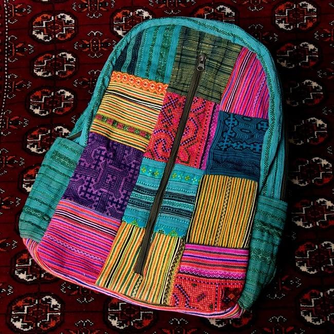 モン族刺繍のセンターファスナーパッチワークバッグパック 13 - 【選択:C】上部青 ドリンクホルダー青系