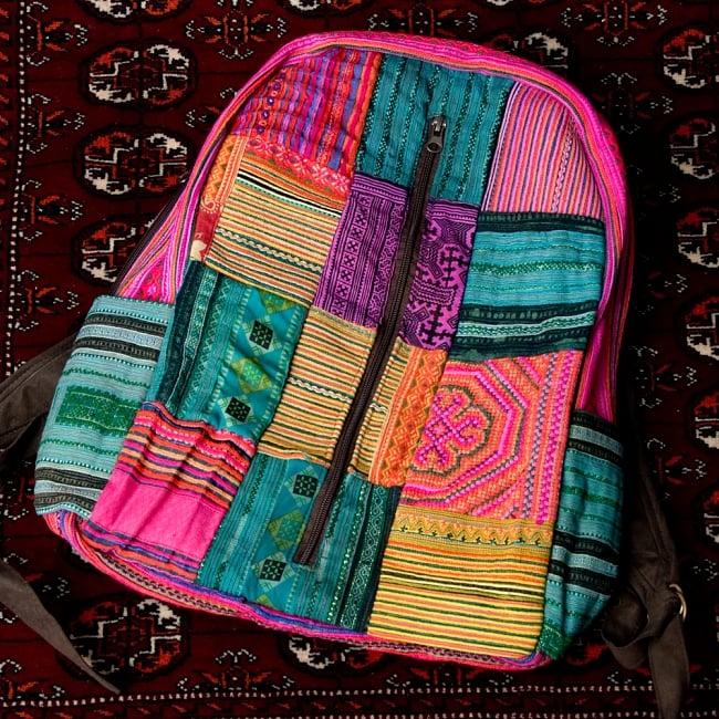 モン族刺繍のセンターファスナーパッチワークバッグパック 14 - 【選択:D】上部ピンク ドリンクホルダー青系