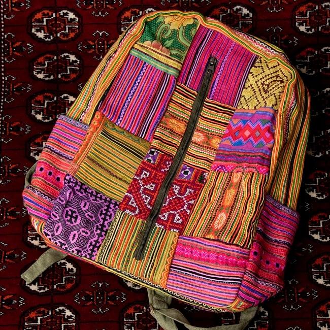 モン族刺繍のセンターファスナーパッチワークバッグパック 15 - 【選択:E】上部黄色 ドリンクホルダーピンク系