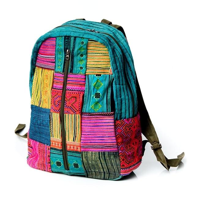 モン族刺繍のセンターファスナーパッチワークバッグパック 2 - 引き込まれるような美しい刺繍。
