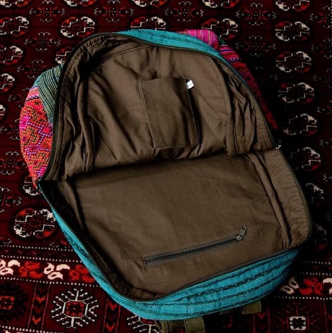 モン族刺繍のセンターファスナーパッチワークバッグパック 7 - メイン収納です