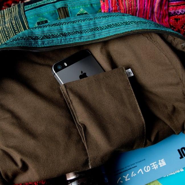 モン族刺繍のセンターファスナーパッチワークバッグパック 9 - 内部には小物入れ