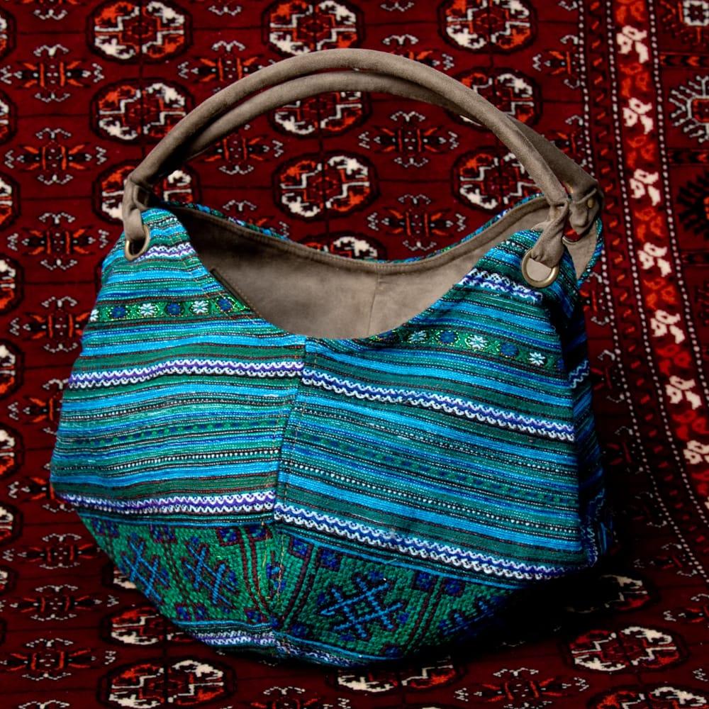 モン族刺繍とスウェード生地のトートバッグ 14 - 【選択:C】水色系