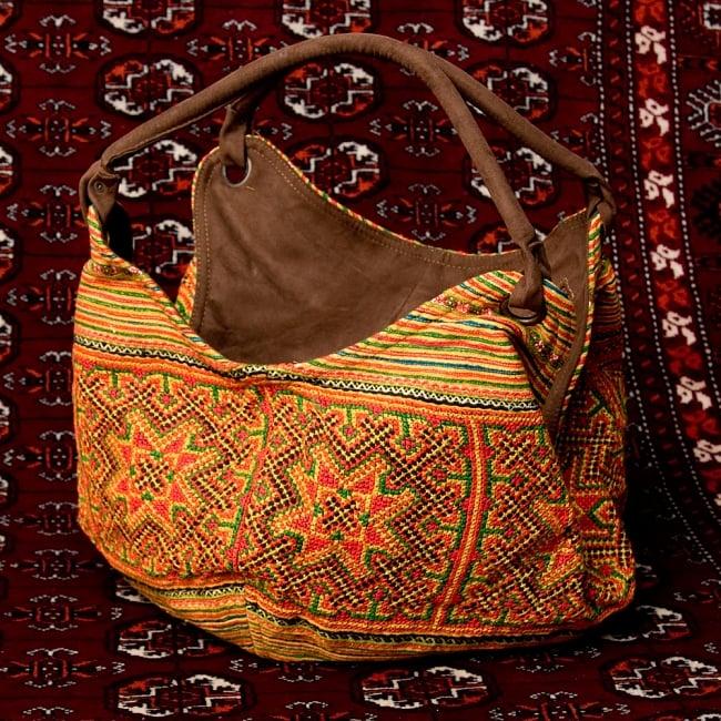 モン族刺繍とスウェード生地のトートバッグ 15 - 【選択:D】オレンジ系