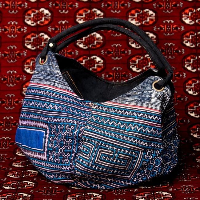 モン族刺繍とスウェード生地のトートバッグの写真16 - 【選択:E】青系