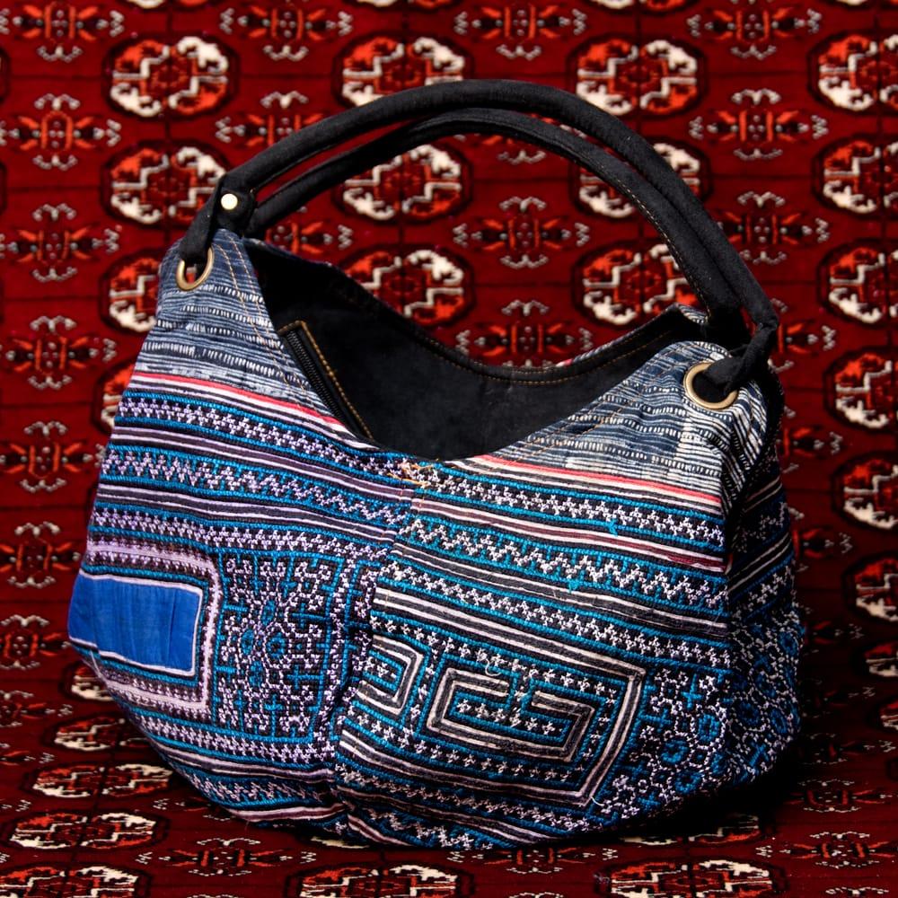 モン族刺繍とスウェード生地のトートバッグ 16 - 【選択:E】青系