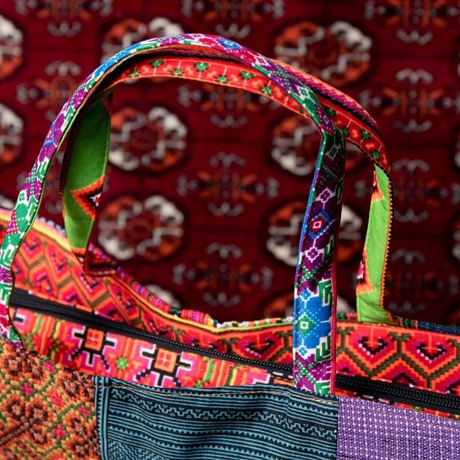 モン族刺繍のスクエア型パッチワークトートバッグ 7 - 持ち手部分です