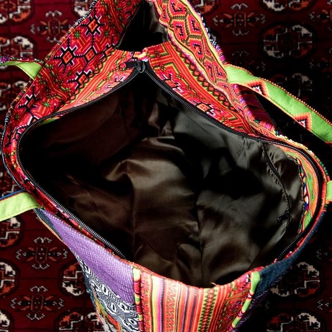 モン族刺繍のスクエア型パッチワークトートバッグ 9 - 内部はこのようになっております