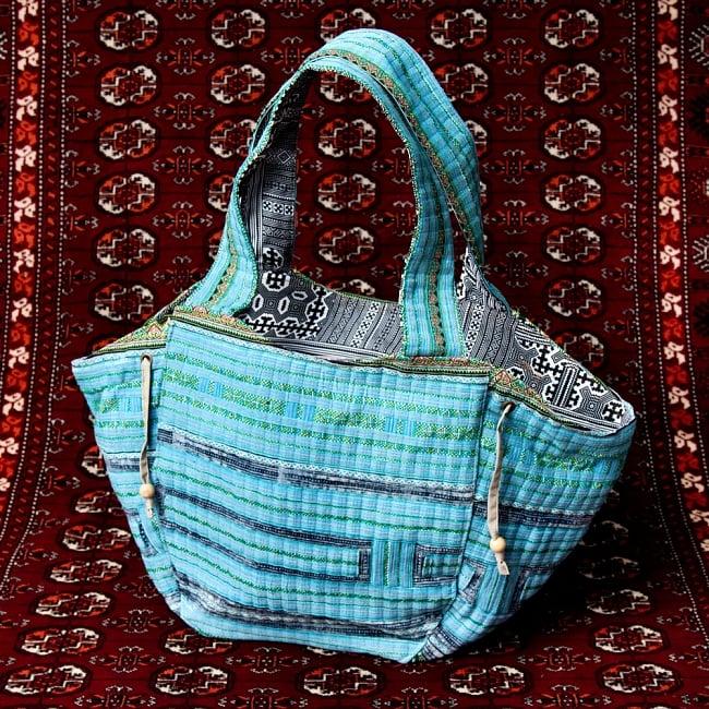 モン族刺繍の扇形トートバッグ 14 - 【選択:B】水色系