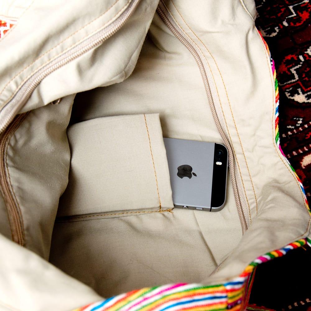 モン族刺繍 ビッグボタンのトートバッグ 11 - 小物収納付き