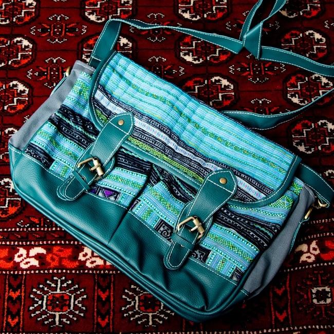 モン族刺繍とレザーのショルダーバッグ 16 - 【選択:B】ブルーレザー系