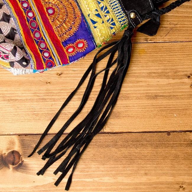【一点物】アフガニショルダーバッグ-Lサイズ 11 - 両サイドのフリンジも可愛いです(*^^*)※こちらは柄違いの商品です