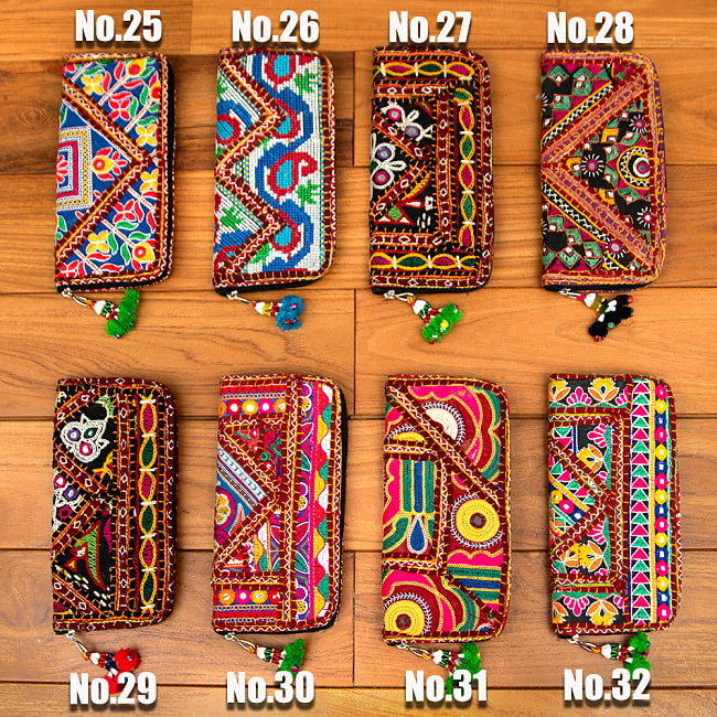 【1点物】カッチ刺繍の長財布 10 -