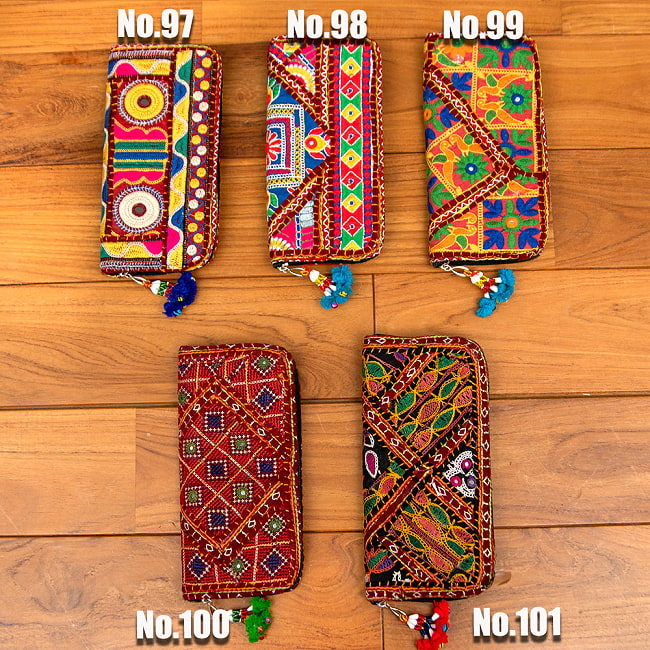 【1点物】カッチ刺繍の長財布 19 -