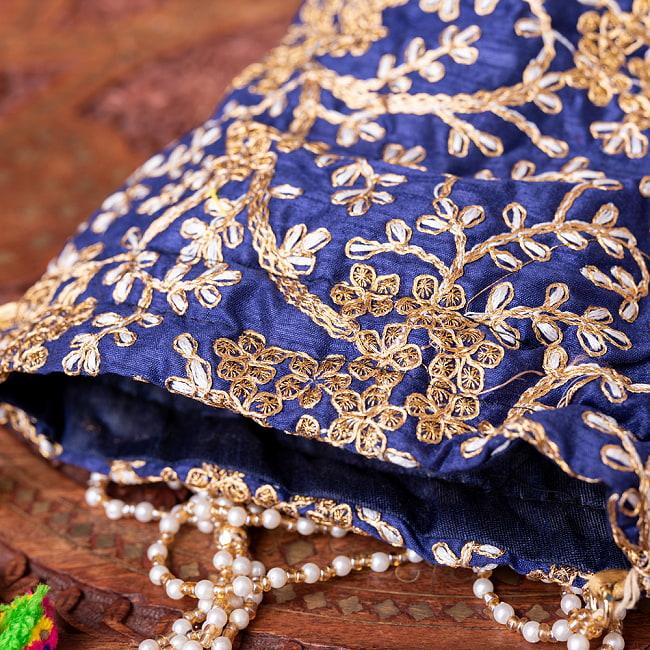 インドのきらきらミニバッグ・サリー等へオススメの巾着 - グリーン 9 - 小銭入れや携帯電話等すっぽり入る大きさです^^