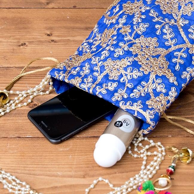 インドのきらきらミニバッグ・サリー等へオススメの巾着 - 水色 9 - 小銭入れや携帯電話等すっぽり入る大きさです^^