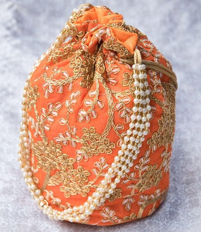 インドのきらきらミニバッグ・サリー等へオススメの巾着 - オレンジ 3 - 裏面も同じデザインです