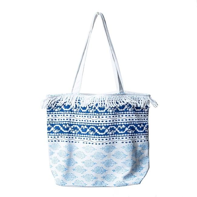 ブロックプリントのインド綿トートバッグ 3 - デザイン1
