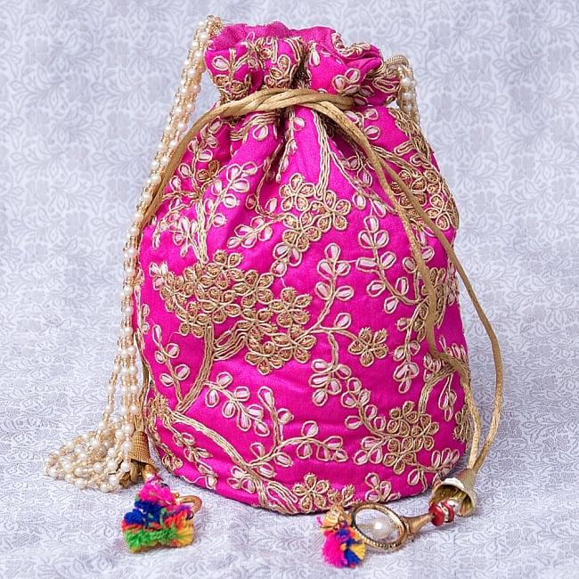 インドのきらきらミニバッグ・サリー等へオススメの巾着 - マゼンタの写真