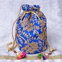 インドのきらきらミニバッグ・サリー等へオススメの巾着 -  群青色