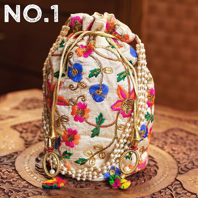 インドのきらきらミニバッグ・サリー等へオススメの巾着 ゴールド&フラワー更紗刺繍系 12 - 〔No.1〕はこのようなデザインになります
