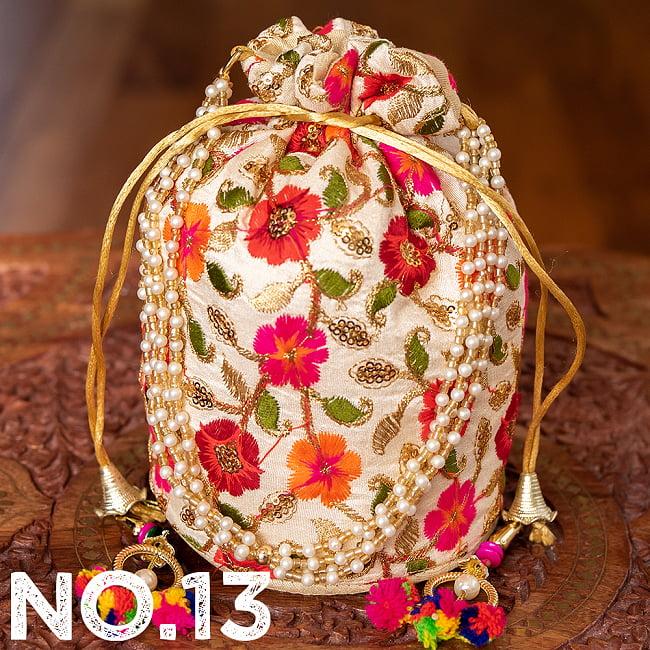 インドのきらきらミニバッグ・サリー等へオススメの巾着 ゴールド&フラワー更紗刺繍系 24 - 〔No.13〕はこのようなデザインになります