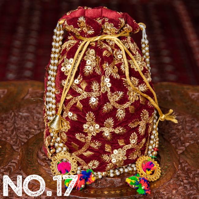 インドのきらきらミニバッグ・サリー等へオススメの巾着 ゴールド&フラワー更紗刺繍系 28 - 〔No.17〕はこのようなデザインになります