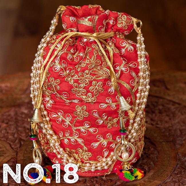 インドのきらきらミニバッグ・サリー等へオススメの巾着 ゴールド&フラワー更紗刺繍系 29 - 〔No.18〕はこのようなデザインになります