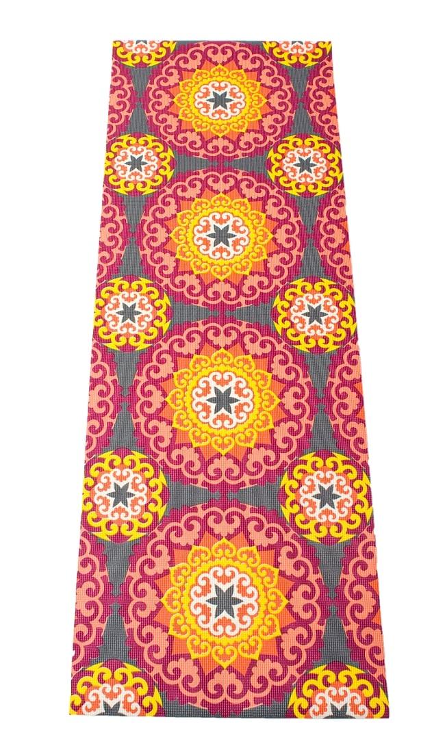エスニック インド マンダラ柄ヨガマット(5mm) - ピンク・オレンジ 2 - 全体写真です