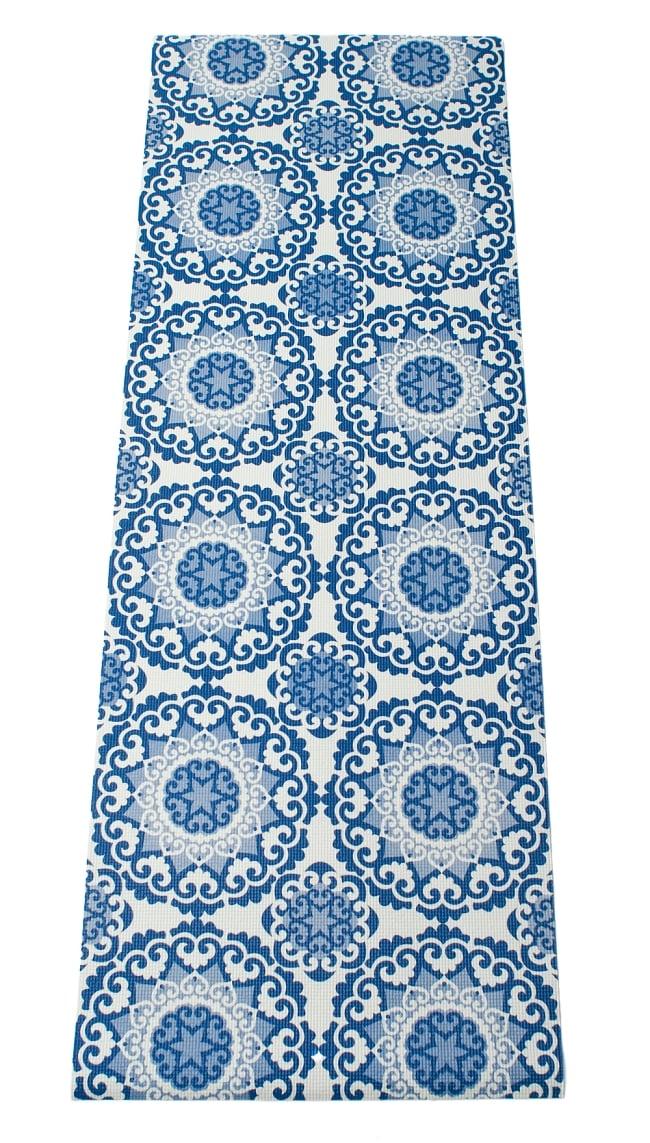 エスニック インド マンダラ柄ヨガマット(5mm) - ブルー 2 - 全体写真です