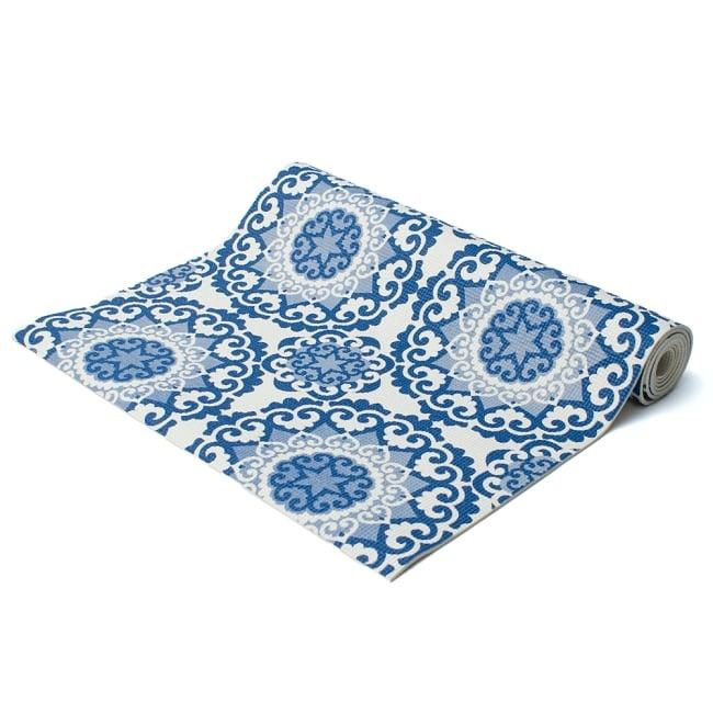 エスニック インド マンダラ柄ヨガマット(5mm) - ブルーの写真