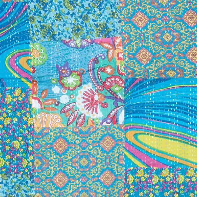 【インドのパッチワーク】ラリーキルトの大判マルチクロス【約280cm×約230cm】の写真4 - 別の部分の拡大写真です