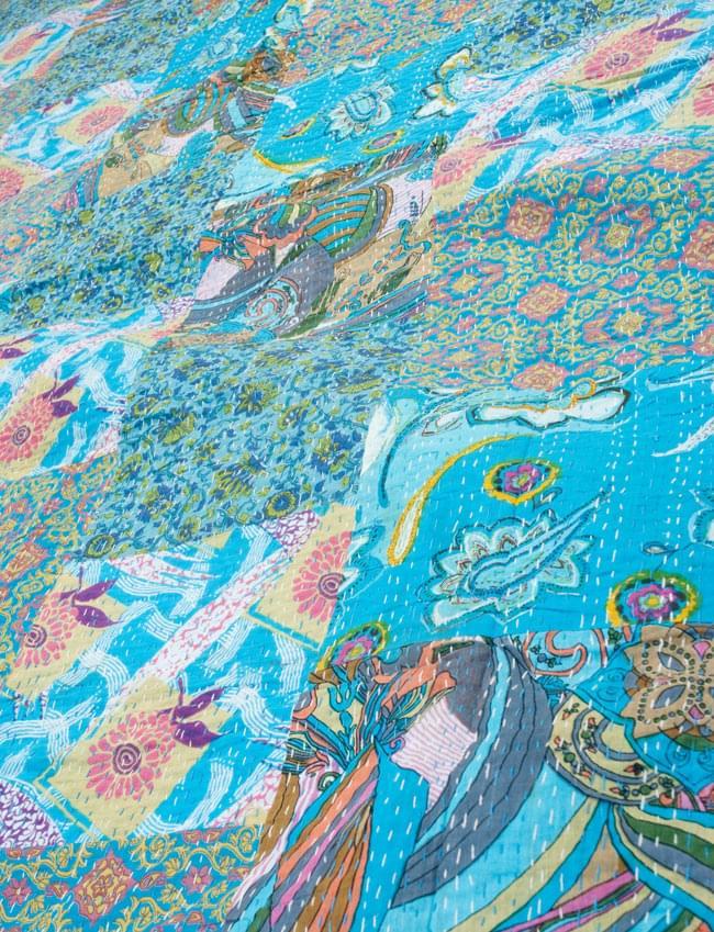 【インドのパッチワーク】ラリーキルトの大判マルチクロス【約230cm×約150cm】の写真2 - とても美しいパッチワークですよ